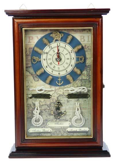 Коллаж-ключница Морской узел с часами