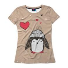 Женская 3D-футболка Пингвин с шариком