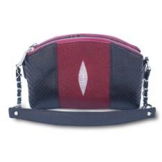 Черно-бордовая женская сумка из кожи ската и питона