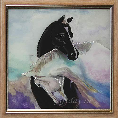 Картина Swarovski Лошадки