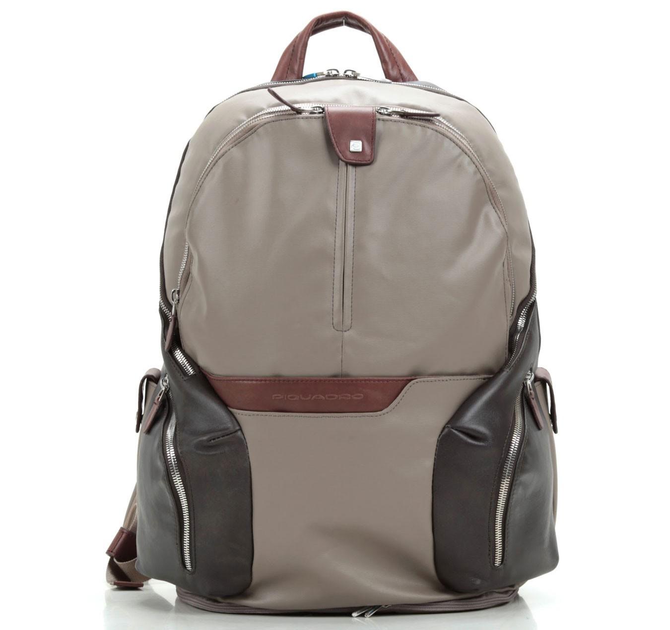 Серый большой функциональный рюкзак Piquadro Coleos