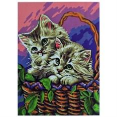Картина-раскраска по номерам на холсте В корзинке