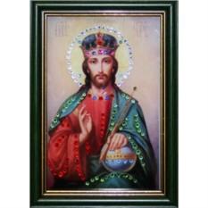 Малая икона с кристаллами Swarovski Христос Вседержитель