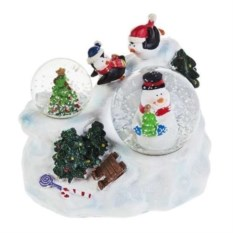 Шары со снегом Снеговик и елочка
