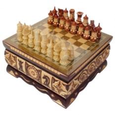Резные шахматы ручной работы в ларце
