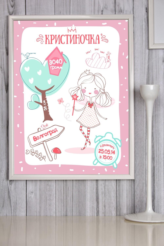 Постер в раме с Вашим текстом Детская метрика для девочки