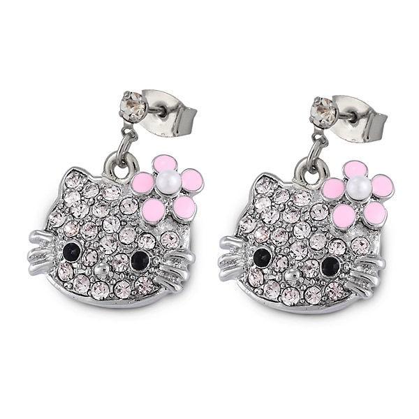Серьги с кристаллами Swarovski Hello Kitty розовые