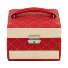 Красно-бежевая шкатулка для хранения украшений