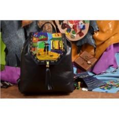 Черный кожаный рюкзак Ночь в красочном городе