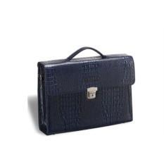 Темно-синий кожаный женский деловой портфель Brialdi Blanes