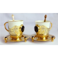 Кофейная пара из чашек в золоченых подстаканниках Агат