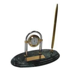 Мраморный настольный набор с ручкой и часами