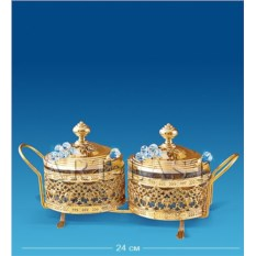 Двойная сахарница (цвет — золотой)