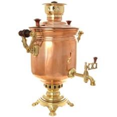 Угольный самовар на 5 литров Цилиндр (латунь-медь)