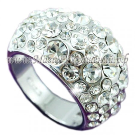 Кольцо инкрустированное Сваровски кристаллами