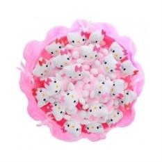 Букет из мягких игрушек Котята (21 шт., цвет — розовый)
