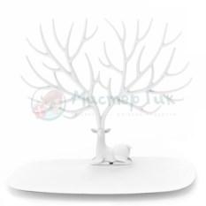 Белая подставка для украшений Олень