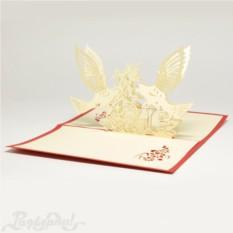 Объемная открытка 3D Голуби и цветы