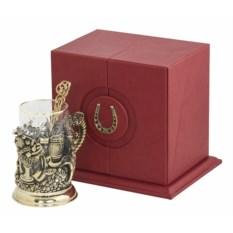 Набор для чая Рог изобилия (в кожаном футляре, бронза)