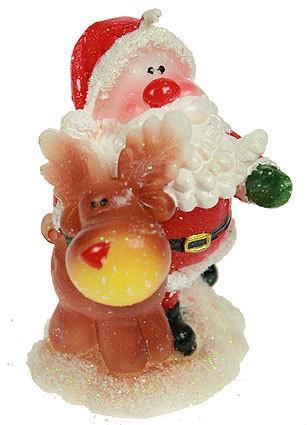 Новогодняя свеча Дед Мороз с оленем