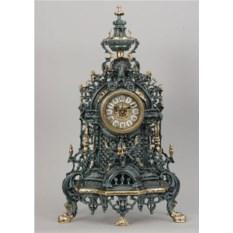 Часы из бронзы в синем цвете