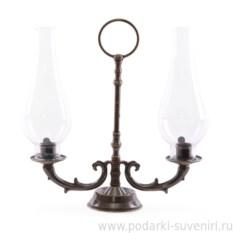 Темный ламповый подсвечник на 2 свечи