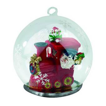 Новогодний шар с Дедом Морозом - машинистом