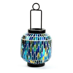 Синий декоративный фонарь-подсвечник