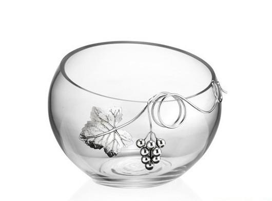 Хрустальная ваза для фруктов или конфет Лоза Пино Блан, гроздь винограда