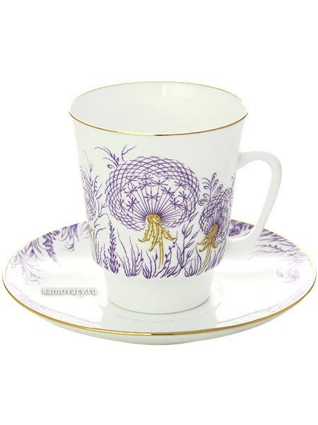 Фарфоровая кофейная чашка с блюдцем Одуванчики