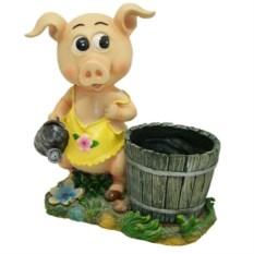 Декоративное кашпо Свинка-хозяюшка