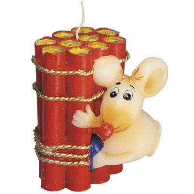 Свечка «Мышь с динамитом»