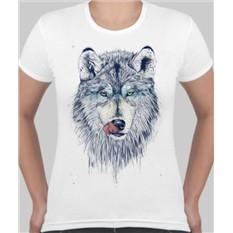 Женская футболка Волк, облизывается