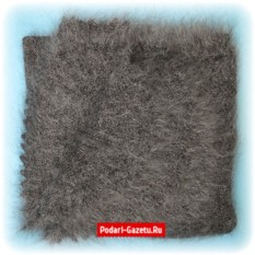 Серый Оренбургский пуховый платок плотной вязки