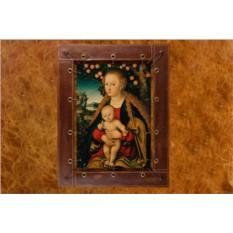 Картина из кожи Девственница с ребенком под деревом
