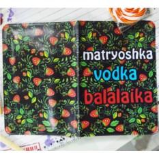 Обложка на паспорт Матрешка, водка, балалайка