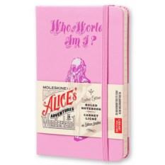 Розовая записная книжка в линейку Алиса в зазеркалье