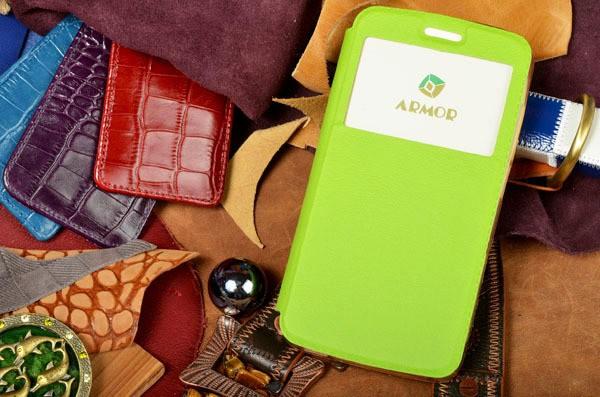 Зеленый чехол для iPhone 6S / 6 с окошком и застежкой