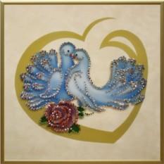 Картина с кристаллами Swarovski Любовь и голуби
