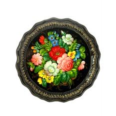 Поднос Цветы на черном фоне