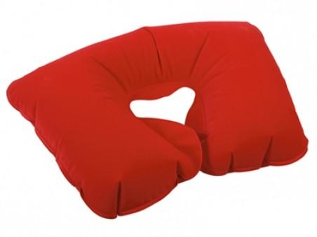 Красная надувная подушка под голову в чехле