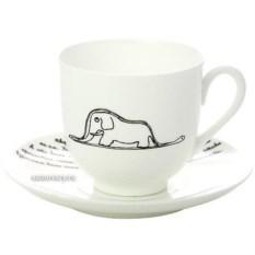 Фарфоровая кофейная чашка с блюдцем Слон
