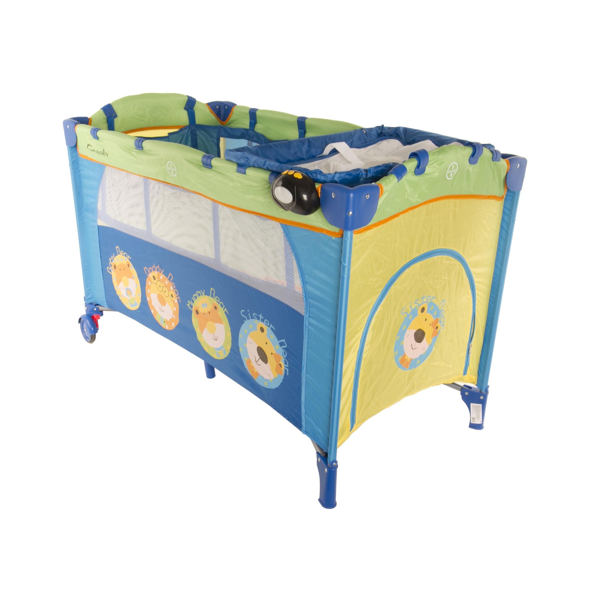 Манеж-кровать Sweet Time Family Capella синий/зеленый/желтый