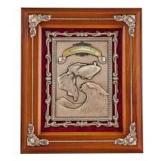 Ключница орехового цвета Золотая рыбка из дерева и меди