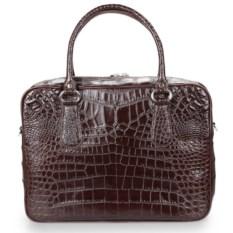 Коричневый портфель из кожи крокодила