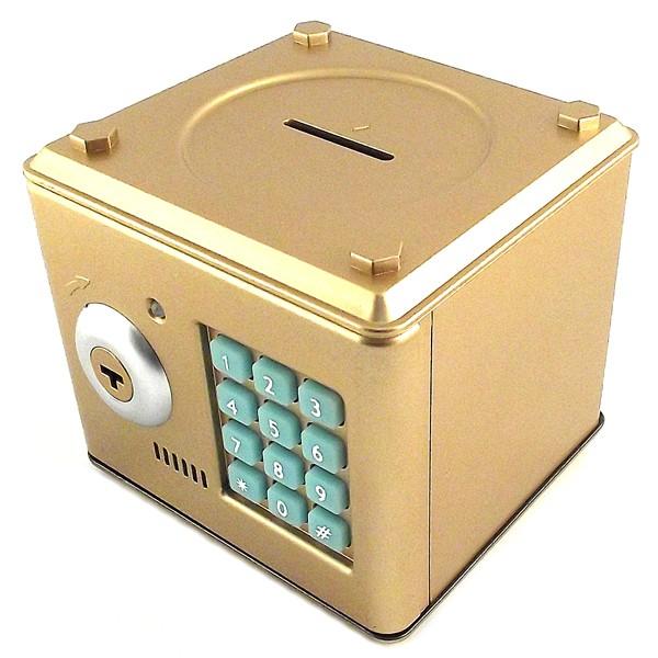 Пластиковая копилка «Сейф», золотая
