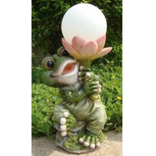 Садовая лампа Лягушка с цветком