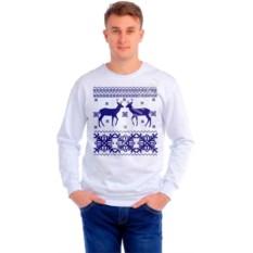 Мужская толстовка Два оленя, три снежинки