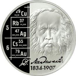 Коллекционная монета Д.И.Менделеев, серебро