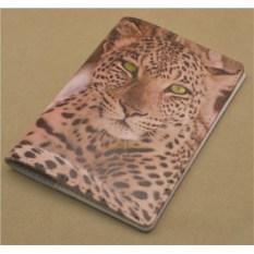 Кожаная обложка для паспорта (Белый, Зеленоглазый леопард) «Промо», коллекция G.Design.